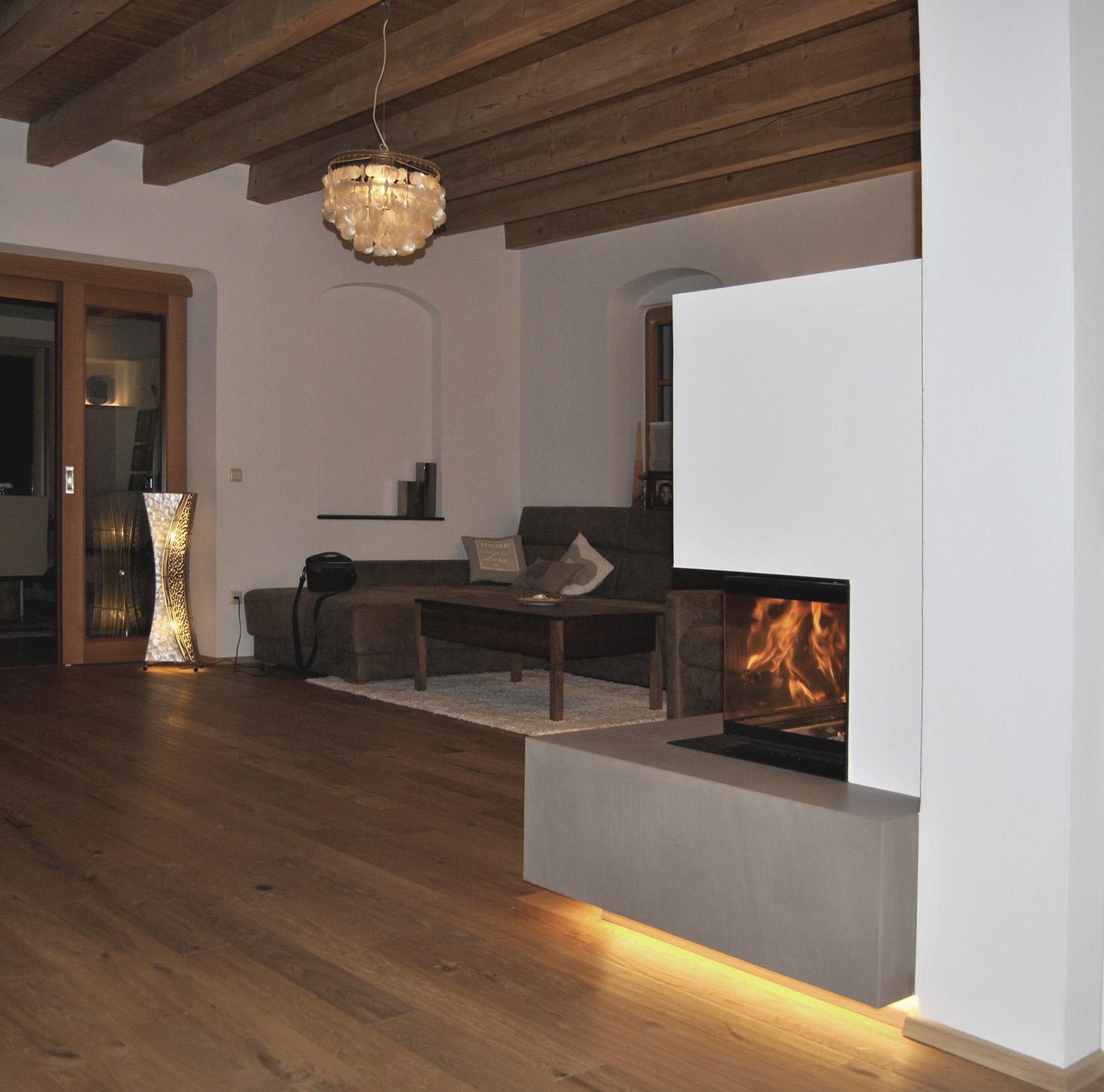 wohnen mit beton kachelofen feuerbank gespachtelt. Black Bedroom Furniture Sets. Home Design Ideas