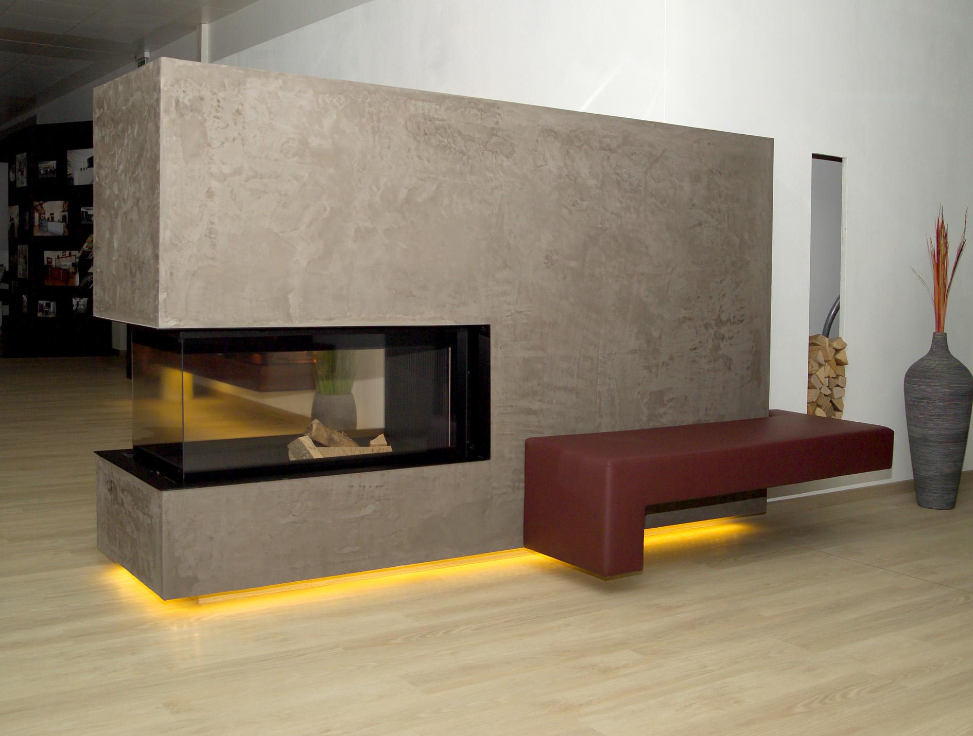 wohnen mit beton heizkamin modern. Black Bedroom Furniture Sets. Home Design Ideas